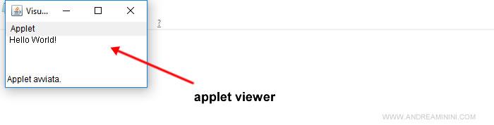 l'esecuzione dell'applet tramite appletviewer