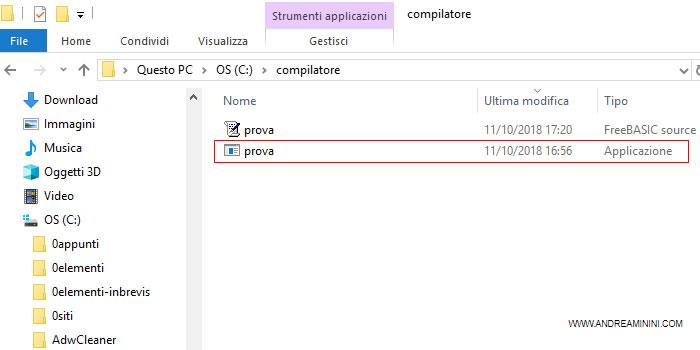 il compilatore crea il file eseguibile
