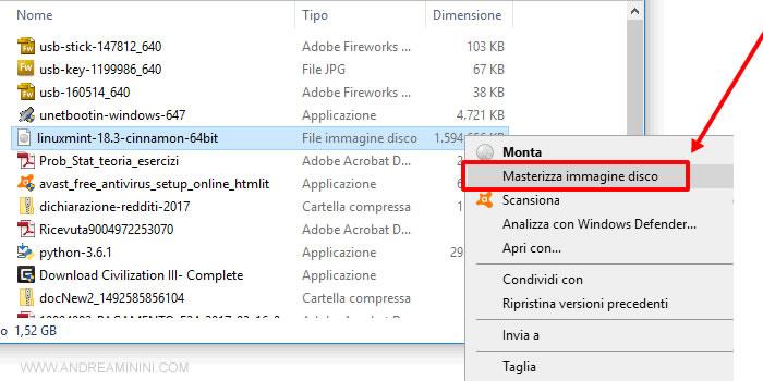 masterizzo il file immagine per creare il cd-rom di installazione Ubuntu