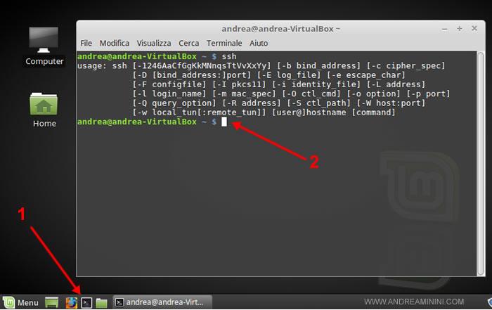 come entrare sulla linea comandi con Linux Mint