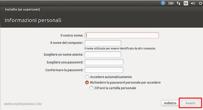 digitare lo username e password del super utente su Ubuntu