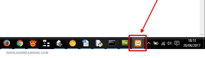 l'icona di Xampp nella barra inferiore dei Windows