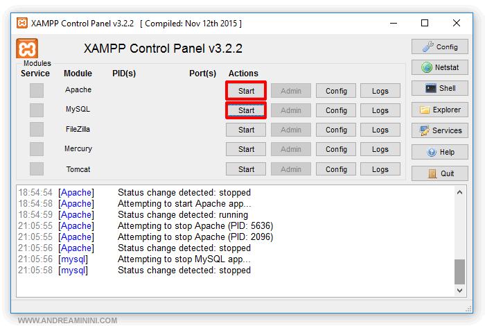 avviare il server Apache e MySql