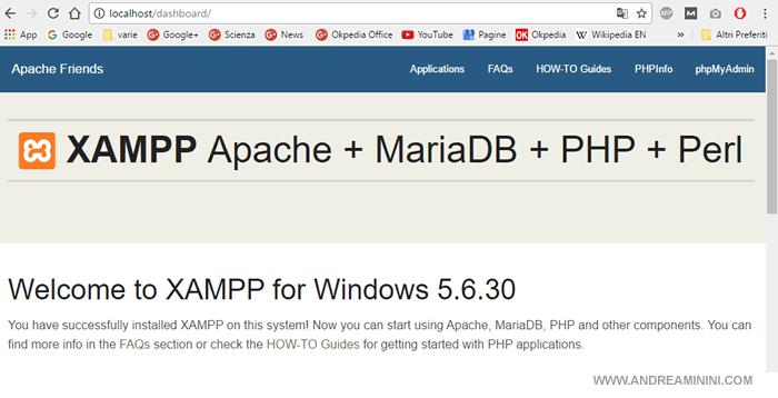l'home page del server Apache
