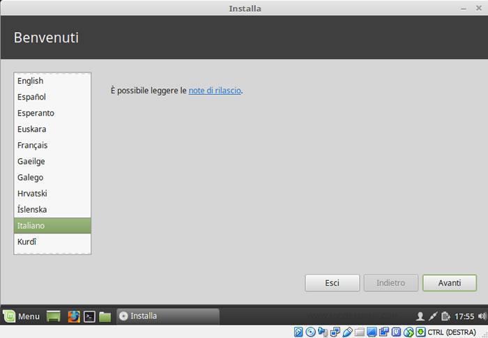 selezionare la lingua del sistema operativo