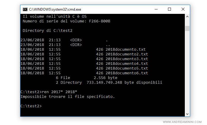 il prompt dei comandi dos su Windows 10