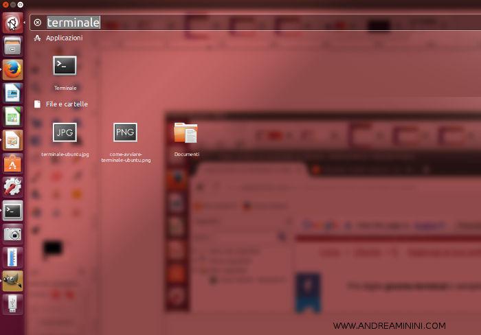 per accedere alla riga comandi su Ubuntu bisogna cercare terminale nel campo di ricerca